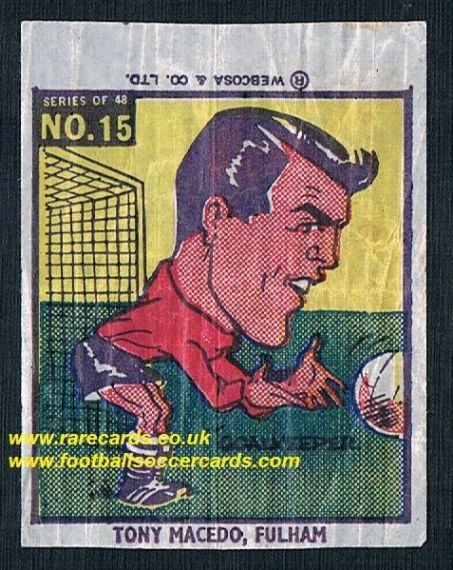 1960 Webcosa Fulham Tony Macedo original wax paper gum insert
